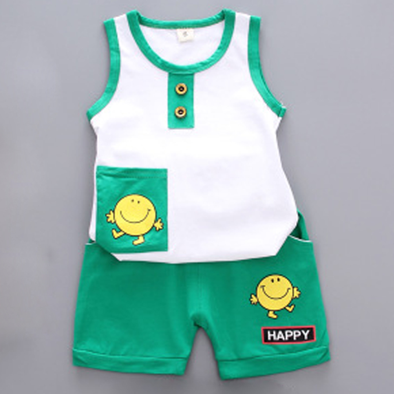 Baby Suit Infant Boy Clothes Set Sleeveless Baby Sets Tshirt Newborn Clothes Outfits Summer Suit Vest + Shorts Smiley Face