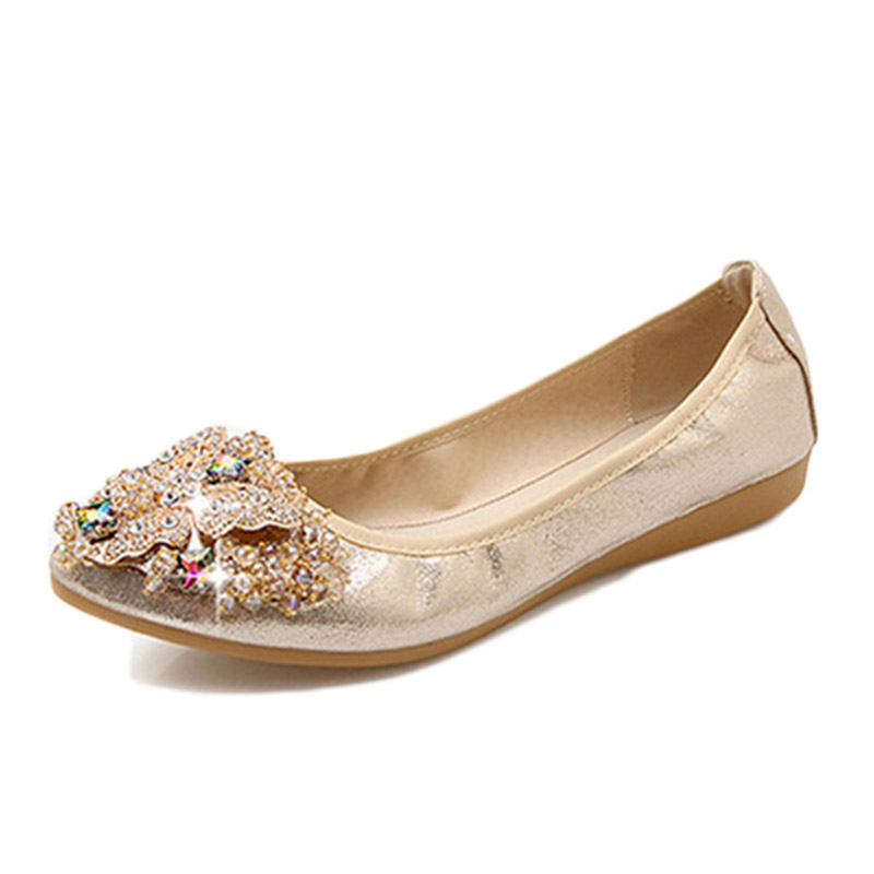 Women Ballerina Flats Slip on Rhinestone Women Flats Shoes Casual Ladies Loafers Boat Shoes Egg roll plus size dropshipping odetina 2017 new women pointed metal toe loafers women ballerina flats black ladies slip on flats plus size spring casual shoes