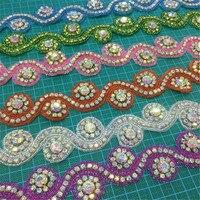 4 5meters DIY Rhinestone Trim Crystal Chain Beaded Applique Sew Iron On Hox Fix Bridal Dress