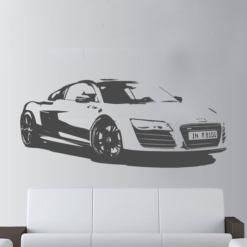 57x130cm Fashion Large Car Audi R8 Coupe Sports Wall Art Decal Home Decor  Racing Car Wall Paper Art Vinyl Art Mural KW 331 In Wall Stickers From Home  ...