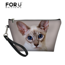FORUDESIGNS Ladies Cute Siamese Cat Printing Cosmetic Cases for Make Up Women Large Organizer Wash Kit Bags Females Makeup Case