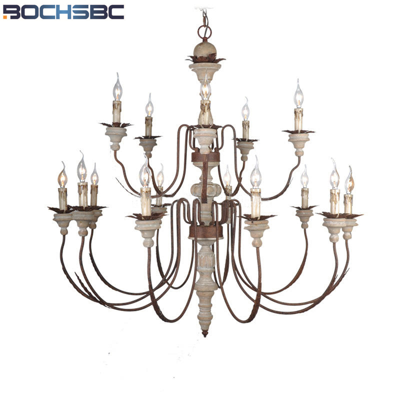 BOCHSBC American Double Layer Retro Pendant for Parlor Dinning Room Study Room Lights Lamp European Iron Candle Led Light E14 wrought iron chandelier e14 3pcs led candle light white vintage rustic pendant lamp for home study room living room
