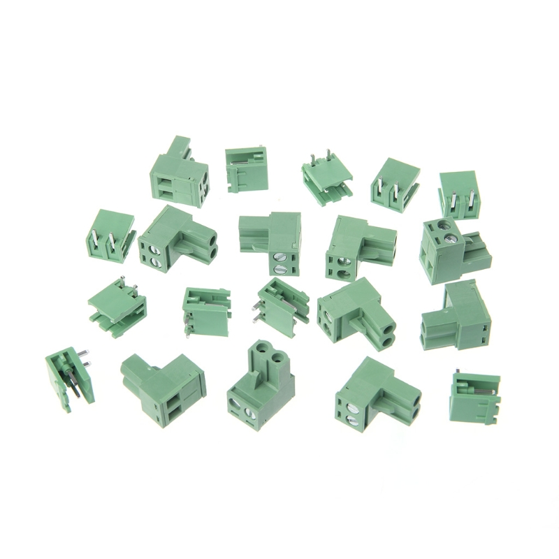 10 Sets 2/3/4/5/6/7/8P Right Angle Terminal Block 300V 10A 5.08mm Pitch Connector PCB