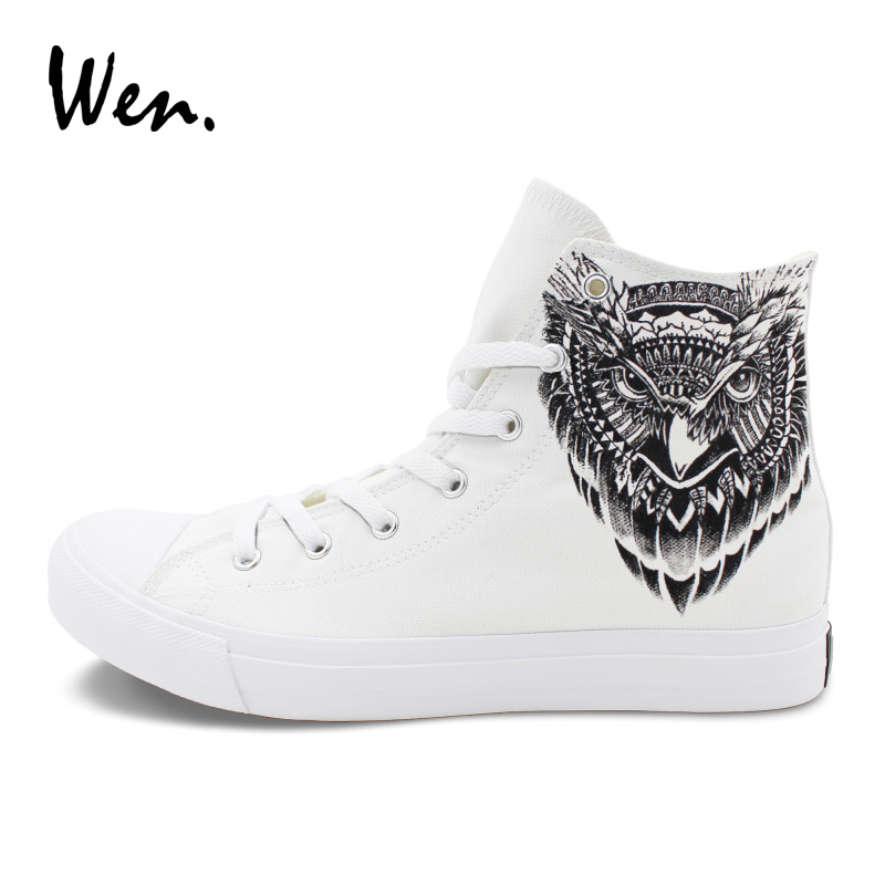 Wen High Top Women Plimsolls Original Design Owl Totem Hand Painted Canvas Shoes Men Athletic Sneakers Lace Up Flat Plimsolls chic scoop collar totem pattern lace spliced tank top for women
