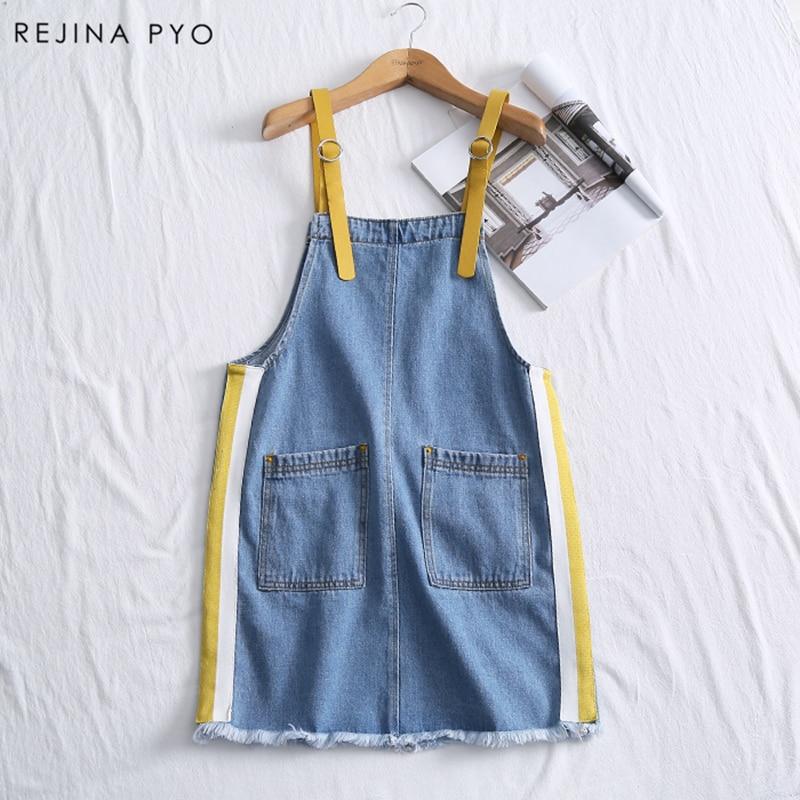 RejinaPyo Women Preppy Style Denim Dress Sleeveless Female Side Striped Mini Dress Spaghetti Strap Pockets 2018 New Arrival