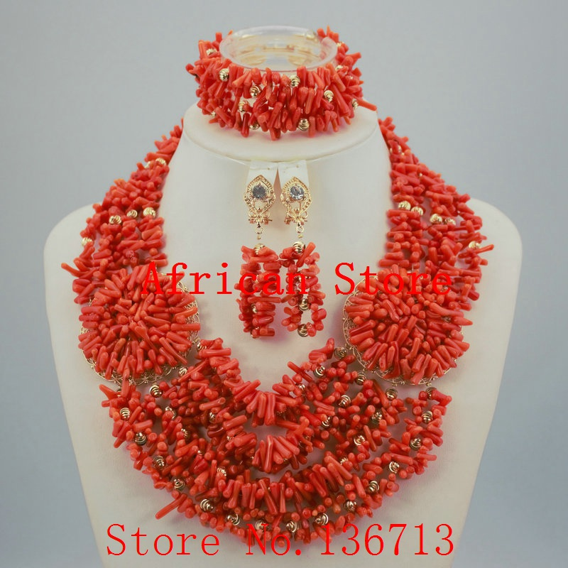 Fashion Nigerian Wedding African Beads Red Coral Beads Jewelry Set Necklace Bracelet Earrings HD336-2