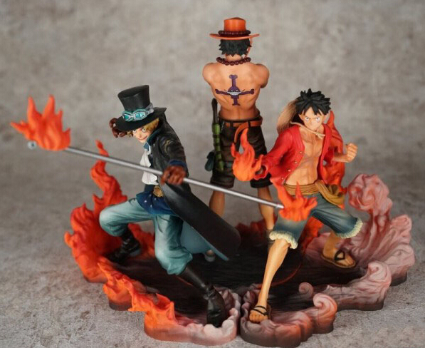 ФОТО 3pcs/set Anime character One piece Sabo Ace Luffy play fire style action pvc figure toys tall 15cm in box.