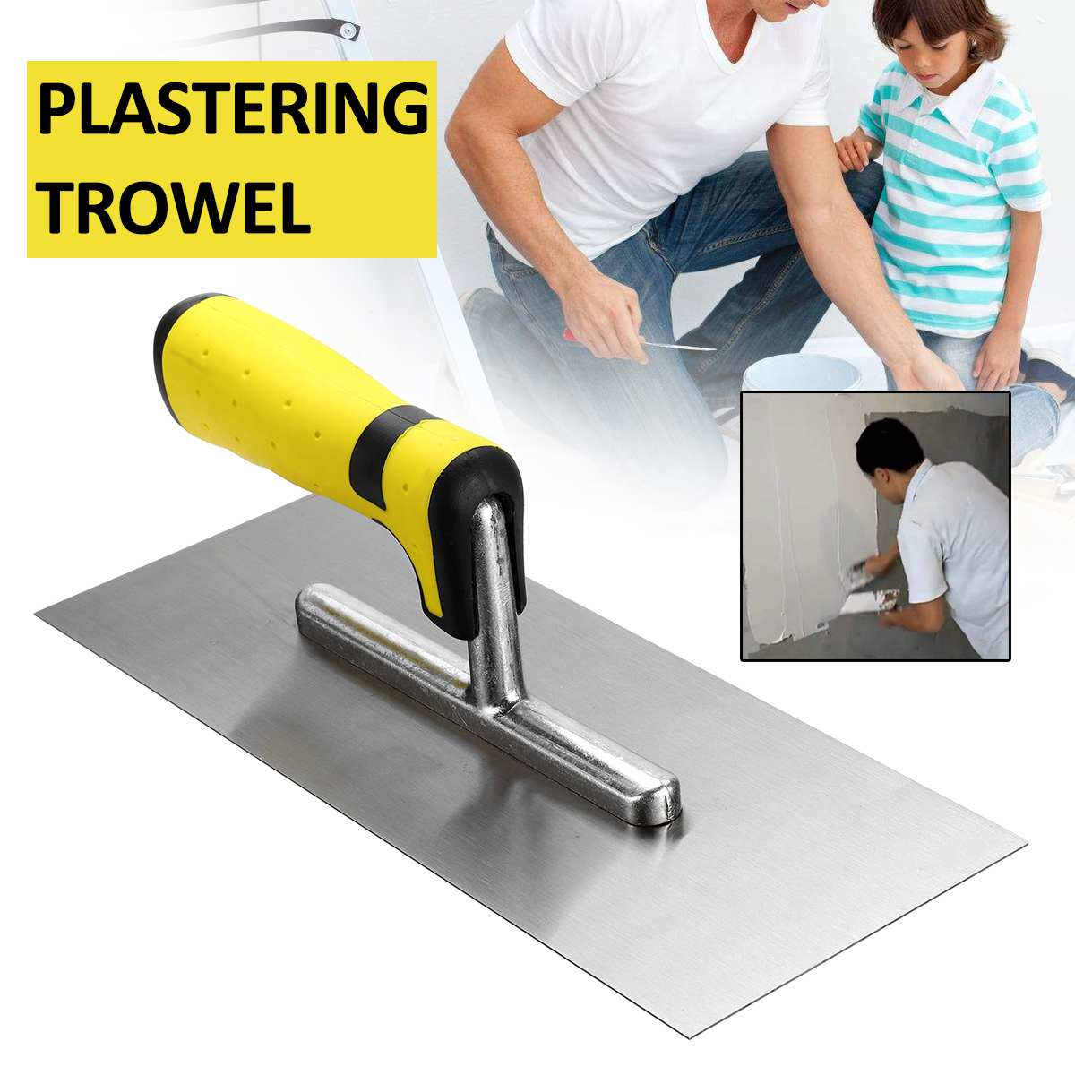 11inch Professional Stainless Steel Plasterers Plastering Trowel 0.9mm With Comfort Handle Putty Knife DIY Hand Tools