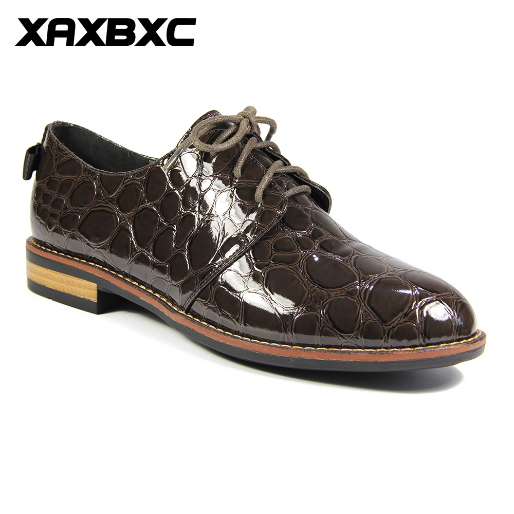 XAXBXC 2018 Spring Autumn New Oxfords Brogue Patent Leather Lace Up Platform Low Heels Women Pumps Female Casual Mujer Shoes hee grand sweet patent leather women oxfords shoes for spring pointed toe platform low heels pumps brogue shoes woman xwd6447