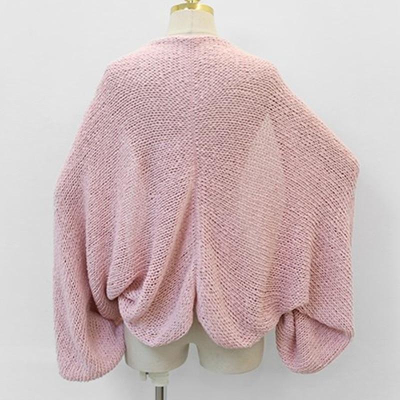 Thin Summer Kimono Cardigan Women 2019 Korean Fashion See-Through Sweater Cardigan Long Sleeve Batwing Tops Short Knitted Poncho