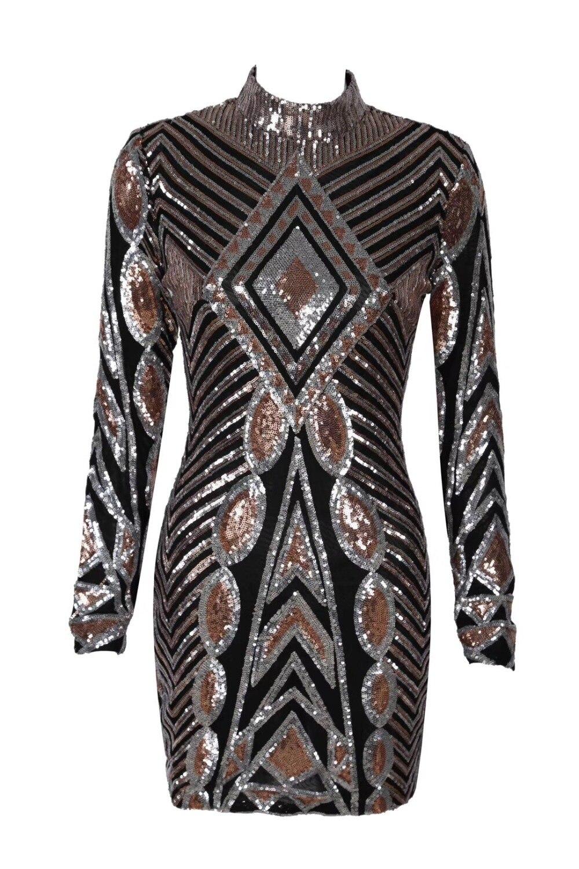 Mode Manches Moulante Hiver À Celebrity Sequin Parti De Mini Noire Nuit Club Noir Élégant Longues Sexy Robe 76gbfy