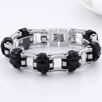 Punk 23 cm Long Skull Bracelets For Men Stainless Steel Shiny Skull Charm Link Chain Bracelets Mens Gothic Jewelry
