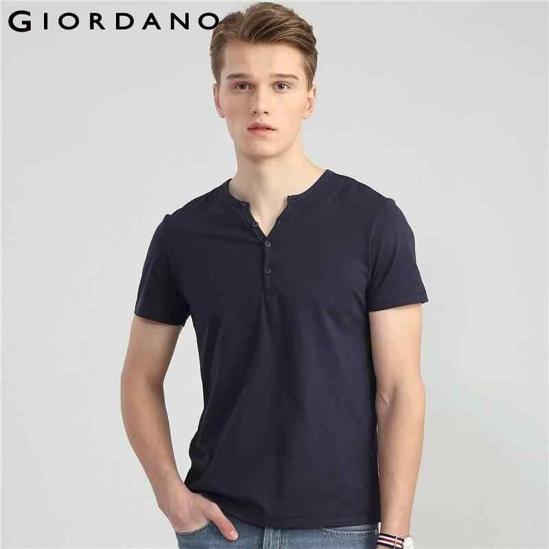 317e12c21a57 Giordano Men Tee Short Sleeves Henley Neck T Shirt Male Solid Colors Casual  T-shirts