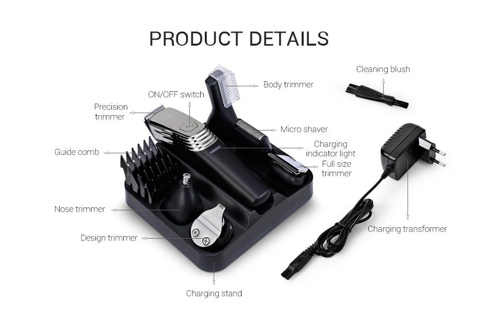 Kemei KM - 5900 Multi-function Men's Personal Care Series 6 in 1 Hair Clipper