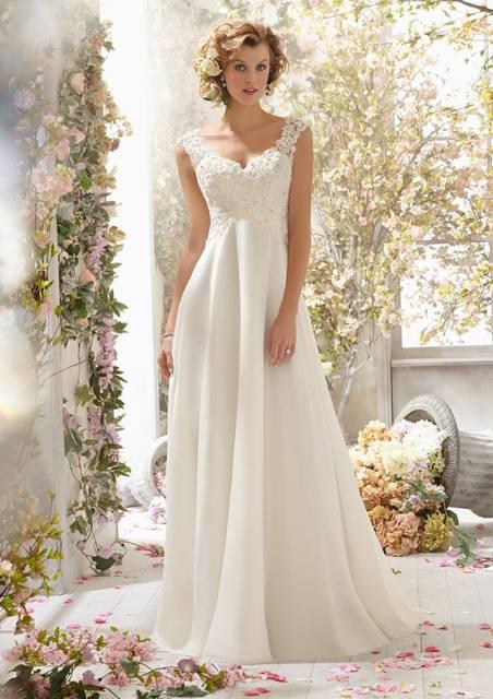 Us 143 71 10 Off Beaded Chiffon Maternity Wedding Dresses Empire Waist V Neck Sleeveless Ons Back Pregnant Women Boho Beach Bridal Gowns In