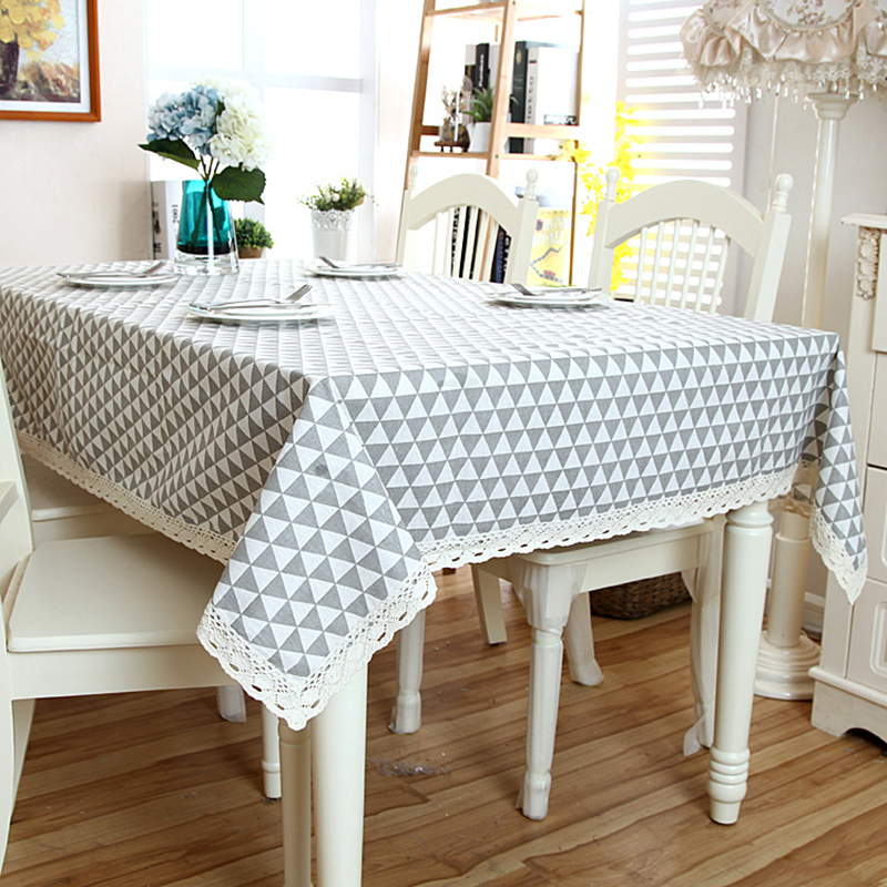 Linen Cotton Tablecloth Comfortable Fashion Plaid White Lace Hem