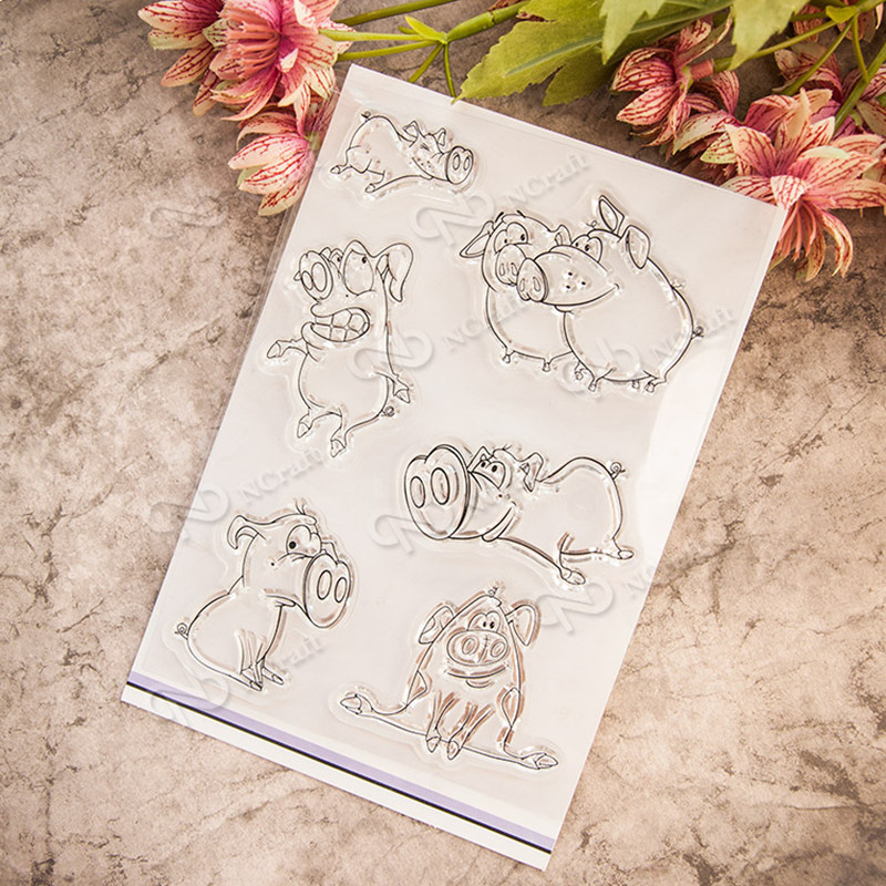 Wacky pig Transparent Clear Stamp DIY Silicone Seals Scrapbooking/Card Making/Photo Album Decoration Supplies T-0225 lovely animals and ballon design transparent clear silicone stamp for diy scrapbooking photo album clear stamp cl 278