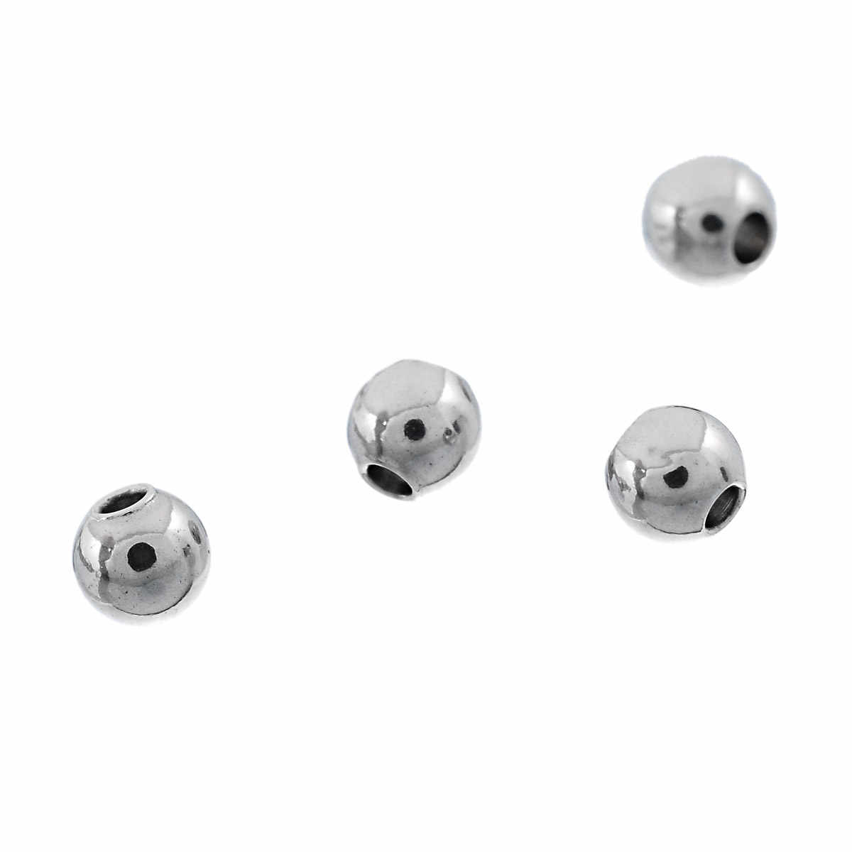 """DoreenBeads Stainless Steel Spacer Beads Round Silver Tone About 3mm( 1/8"""") Dia, Hole:Approx 1mm, 9 Pieces 2017 new"""