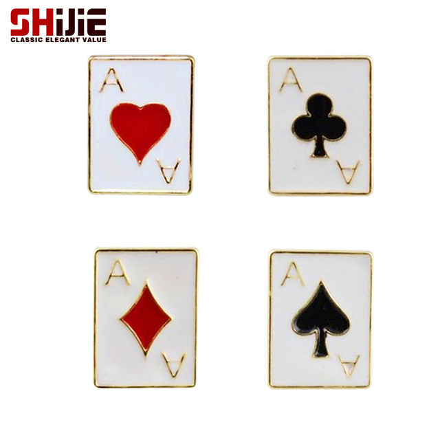 SHIJIE Gold color Poker Collar Brooches for Women ACE of Spade Heart Clubs Block Broches Fashion Jewelry Men's Brooch Lapel Pins
