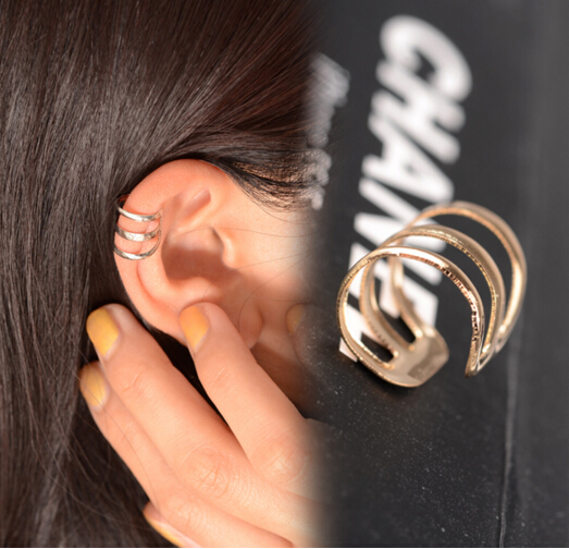 e 007 1 piece New punk rock ear clip silver gold men and women without ear piercings earrings party jewelry couple jewelry acces 8