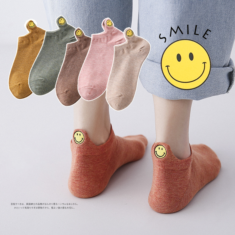 Fashion Socks Woman 2019 New Spring 1 Pair Ankle Socks Girls Cotton Color Smile Novelty Women Fashion Cute Casual  Socks Lady