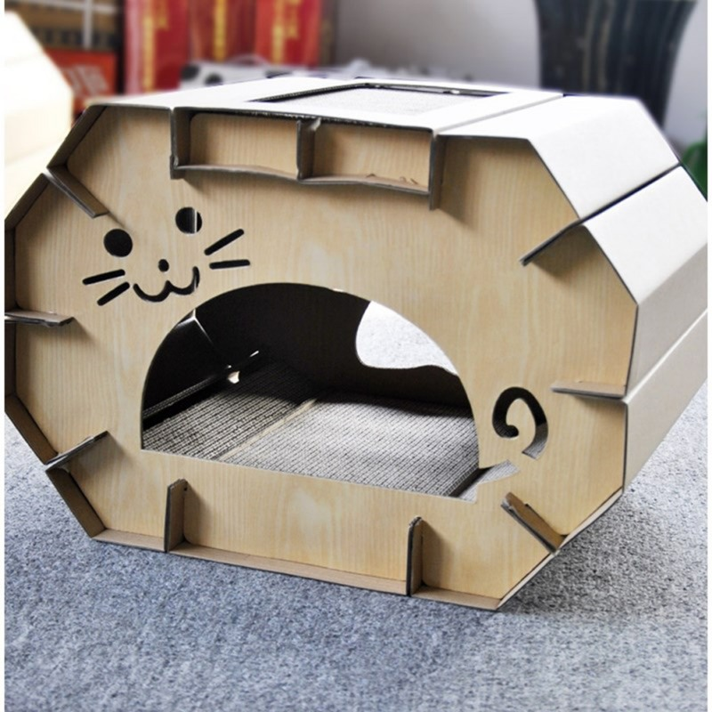 Cute Cats Corrugated Paper House Cute Thicken Scratch Toys for Kitten Durable Scratch Board Cats Toys