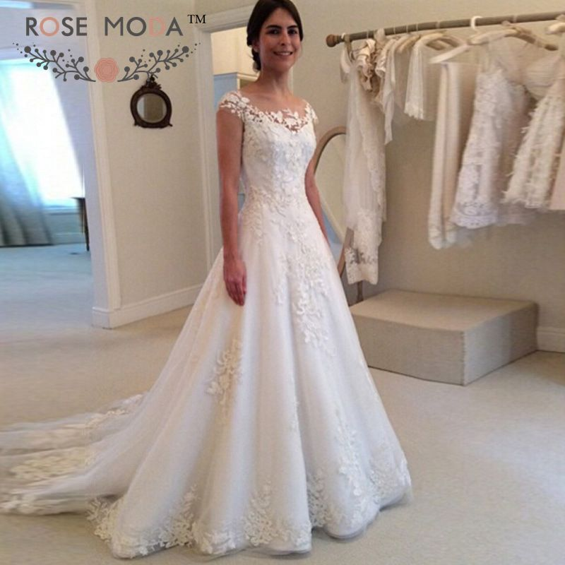 aliexpresscom buy sheer bateau neck short cap sleeves With a line lace wedding dress with sleeves