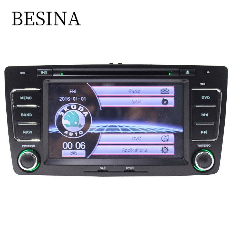 Besina 2 Din 7 Inch Car DVD Player For SKODA Octavia 2009-2013 GPS Navigation Radio Steering Wheel Cnotrol Multimedia Headunit