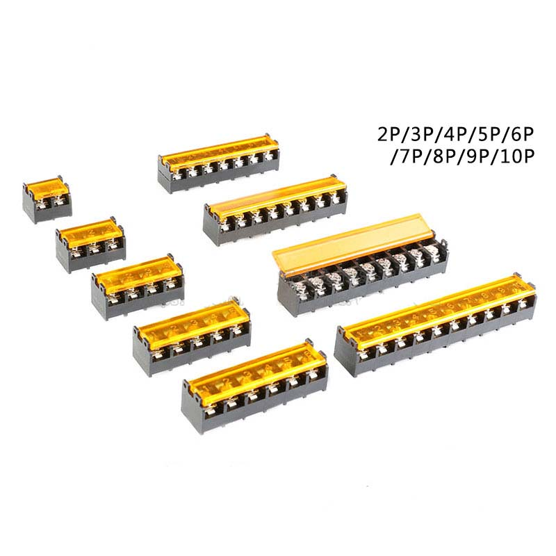 10pc HB-9500 2P-10P <font><b>9.5mm</b></font> Barrier <font><b>Terminal</b></font> <font><b>Block</b></font> Connector with Cover PCB Mount connector image