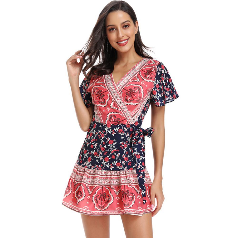 2019 New Yfashion Women Summer Chic Printing Bohemian Style V-neck Short Sleeve Large Hem Dress