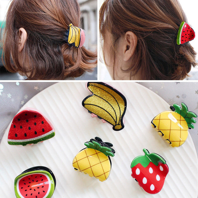 New 1PC Women Fashion Hair Clip Pins With Cute Mini Fruit Shape Hair Accessories For Girl Claw Hair Styling Tools