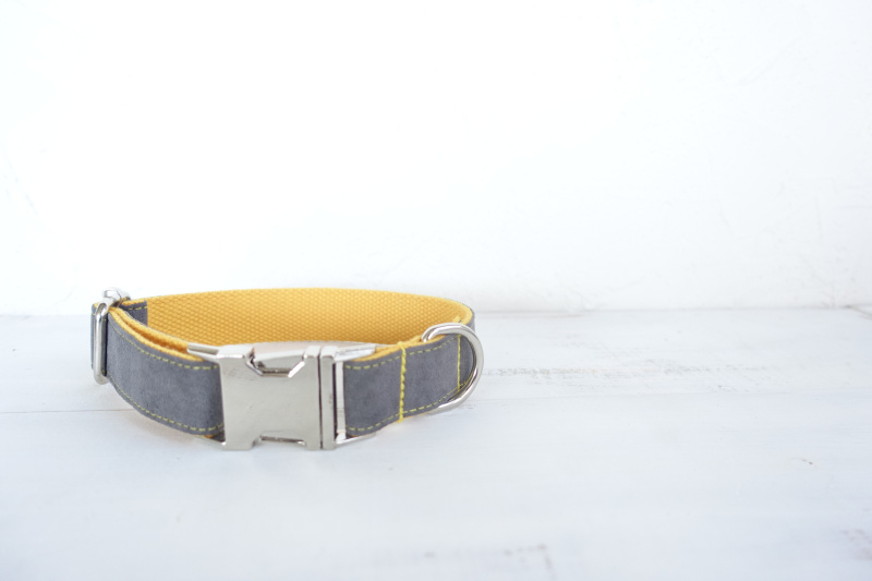 50pcs/lot MUTTCO wholesale self-design creative collar GRAY COVER YELLOW handmade nylon grey and yellow collars and leashes set
