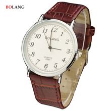 BOLANG 2017 Male Quartz Watch Clock Man Round Classic Silver Case Arabic Numerals Casual Lovers Watches Couple Relogio Hodinky