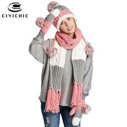 CIVICHIC Stylish Girl Gift Winter Colorful Knit Hat Scarf Glove 3 Piece Thicken Headwear Lady Tassel Shawl Pompon Beanies SH146