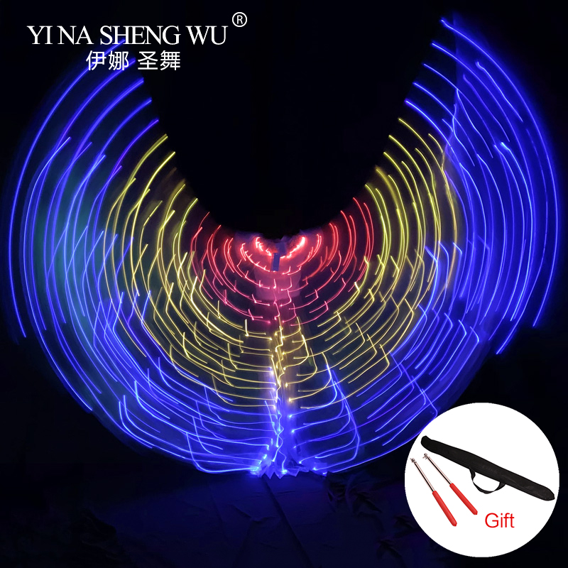 New Performance Props Women LED Light Isis Wings Bellydance Costumes 360 Degree LED Wings Belly Dance Colourful Wings With Stick
