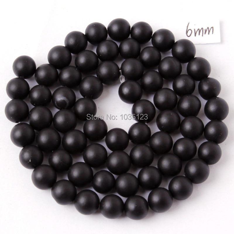 Kualitas tinggi Putaran Batu Akik Alami Buram Hitam Gelang Kalung - Perhiasan fashion - Foto 3