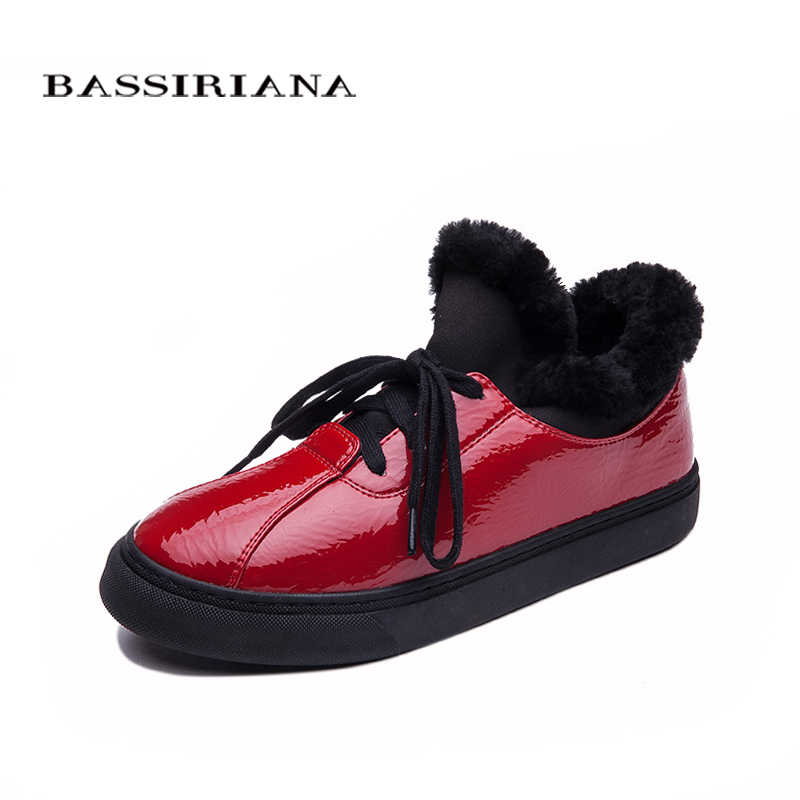 BASSIRIANA-Kış Kadın bot Ayakkabı Peluş Bayan Eğilim pamuk-yastıklı Ayakkabılar Otomatik Bayan sıcak ayakkabı Kadın