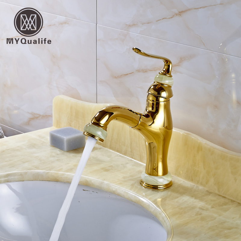 Luxury Golden Pull Out Bathroom Vessel Sink Faucet Single Lever Brass Centerset Vanity Sink