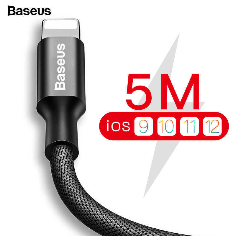 Baseus USB Cable For iPhone Xs Max Xr X 11 8 7 6 6s 5s iPad Fast Charging Charger Mobile Phone Cable For iPhone Wire Cord 3m 5m