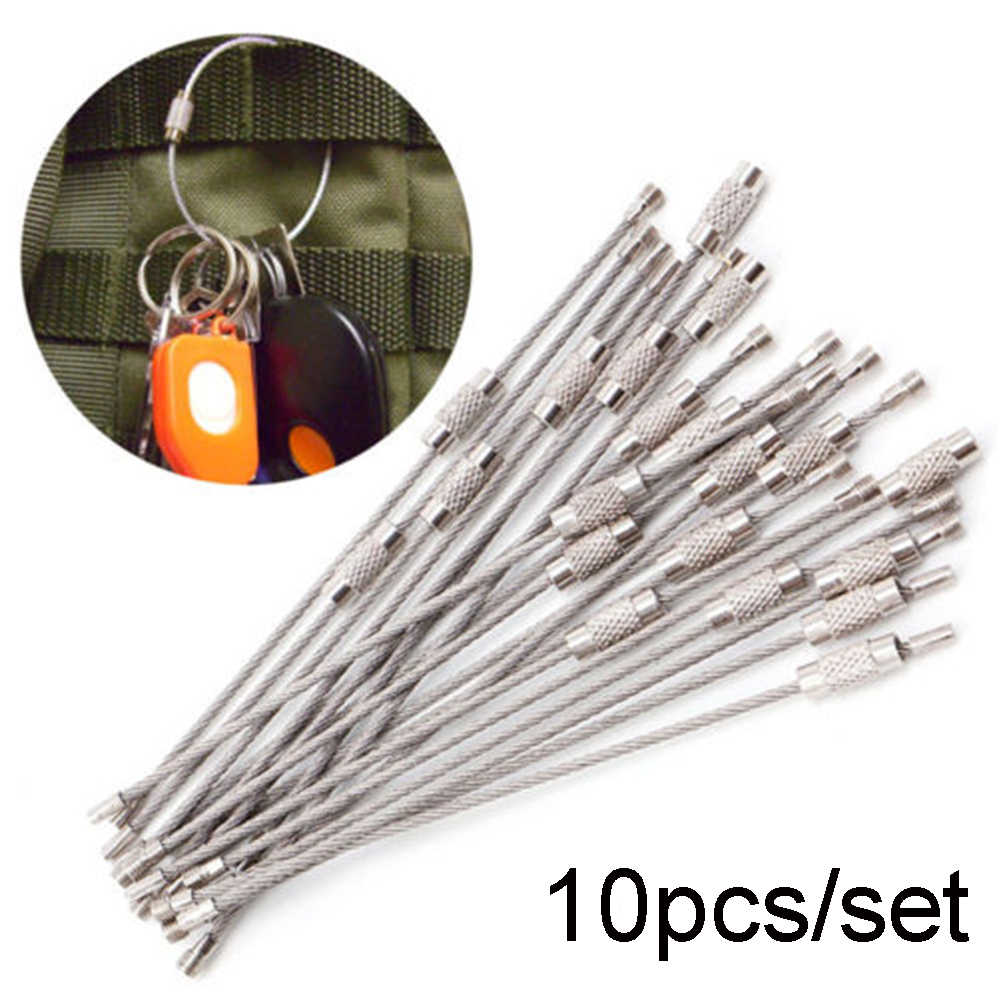 10Pcs/set 100/150/200mm Keychain Tag Rope Stainless Steel EDC Wire Cable Loop Screw Lock Gadget Ring Key Keyring DIY Hand Tools