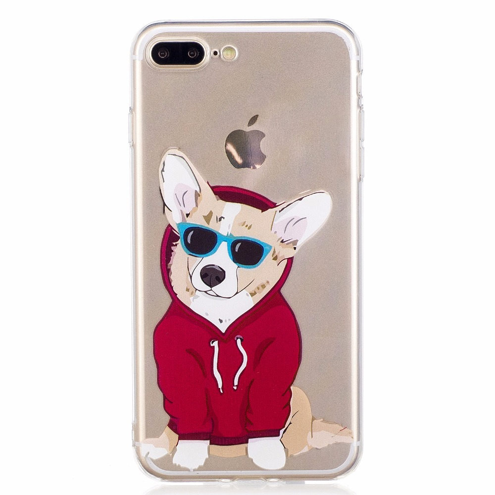 ARYIKUM Transparent Cases For iPhone 7 Plus 7Plus Silicone Girl Case Cartoon Dog Clear Accessories Cover For iPhone7Plus Capinha