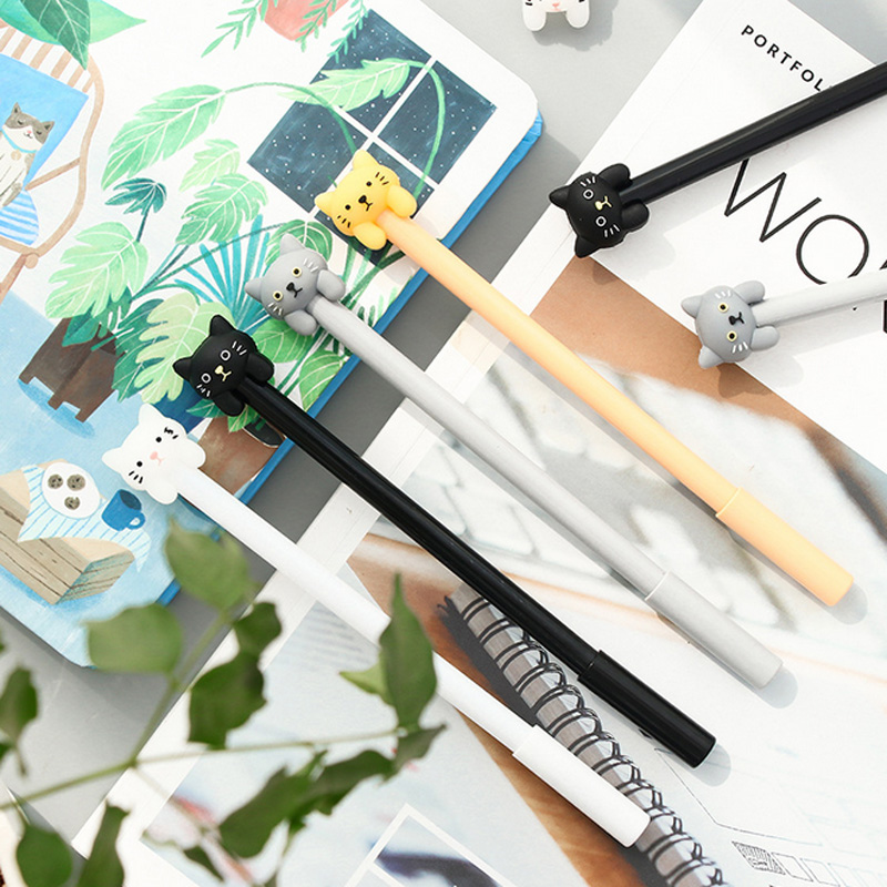 4 pcs/lot Cartoon cute cat pet gel pen writing pens kawaii stationery canetas material escolar school supplies papelaria lapices erasable pen kawaii stationary material escolar boligrafo gel penne cute canetas floral caneta stylo borrable cancellabi