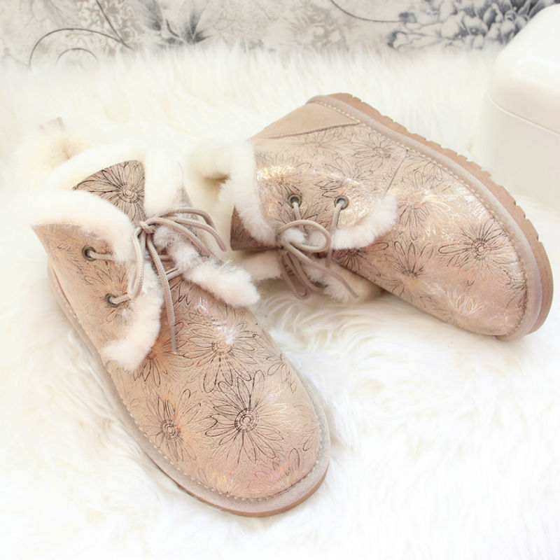 Top Quality 2018 New Fashion 100% Natural Fur Botas Mujer Genuine Sheepskin Leather Snow Boots Real Wool Waterproof Women Boots top quality 2018 new fashion women 100