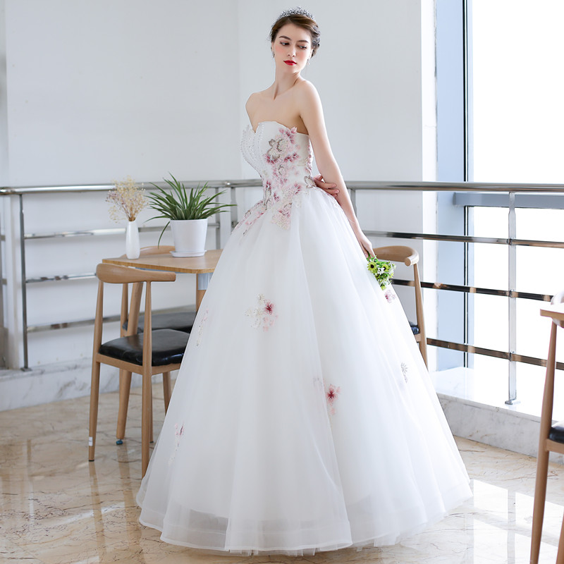 QQ Lover 2018 Colors Lace Ball Gown Wedding Dress Luxury Beading ...