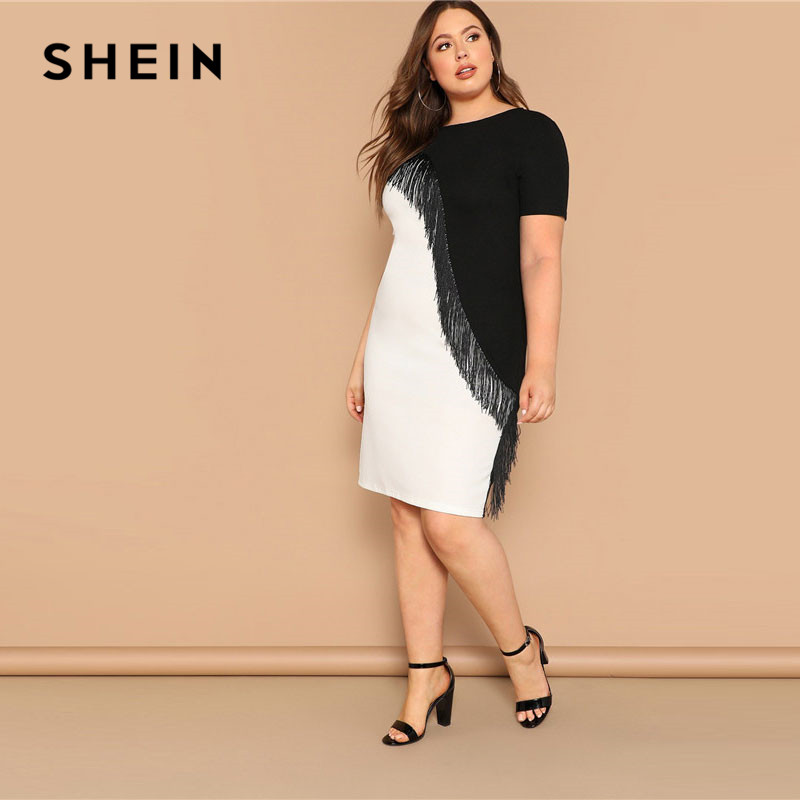 Image 3 - SHEIN Plus Size Fringe Front Two Tone Pencil Dress Women Summer Weekend Casual Short Sleeve Slim Colorblock Midi Dress-in Dresses from Women's Clothing
