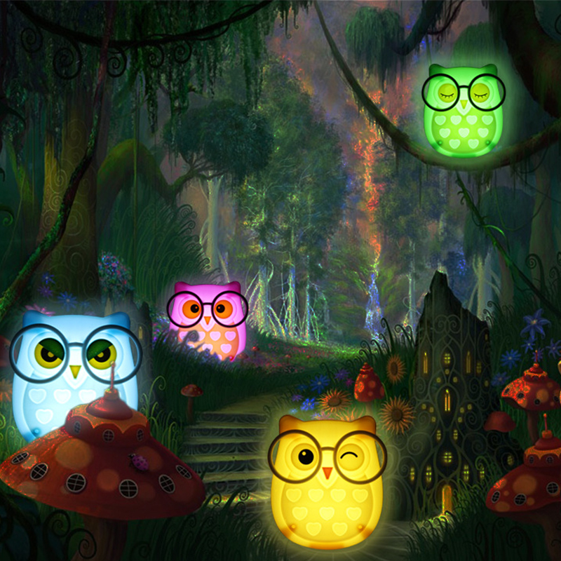 Mini Owl LED Night Light Auto Sensor Light Control Lamp EU/US Plug Child Kid Baby Bedside Bird Light Socket Nightlight