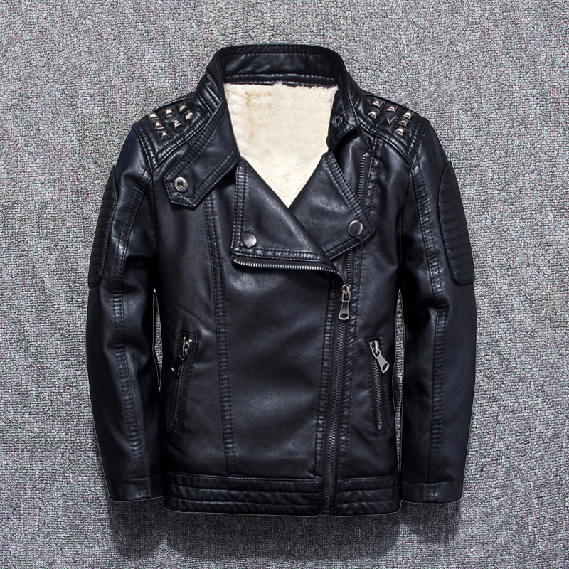Children's clothing leather jackets 2018 fall and winter new boy plus velvet