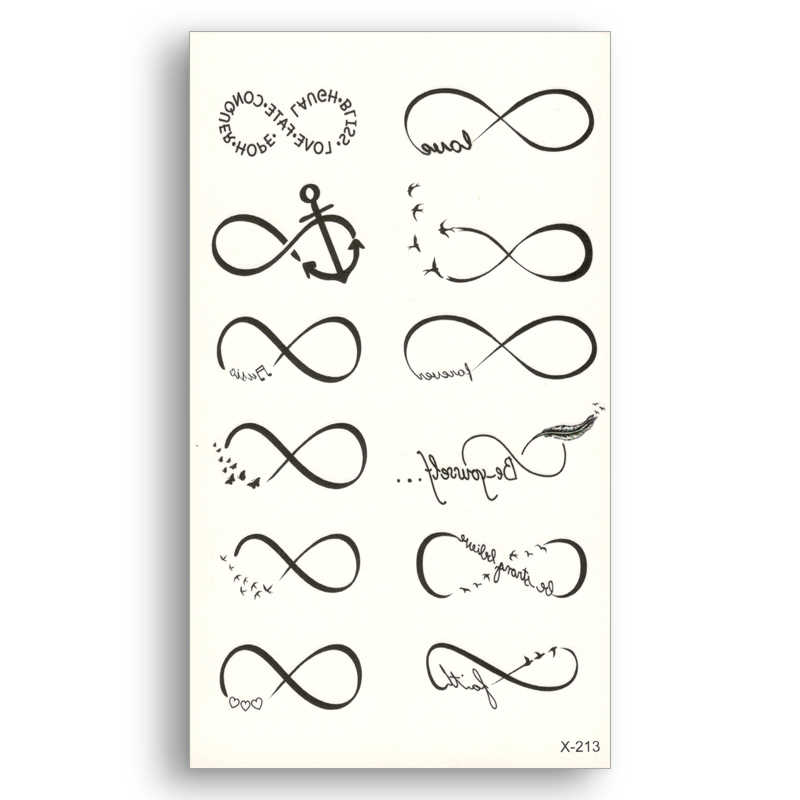 Black Line Tattoo Stickers Removable Water Transfer Fake tattoos disposable Waterproof Temporary Sticker curve Love anchor