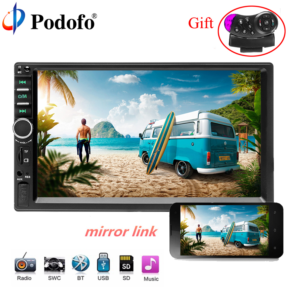 Podofo Car Stereo audio Radio Bluetooth 2 Din 7 Touch Screen Bluetooth Multimedia player MP5 SD FM USB Player Rear View Camera podofo 2 din car radio 7 hd audio stereo bluetooth multimedia player mp5 usb sd fm 2din touch screen autoradio rearview camera