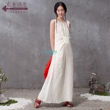 LinenAll 100% linen clothing New arrival women's summer 100% linen dress,beige sleeveless dress,twinset linen long dress SHZZ